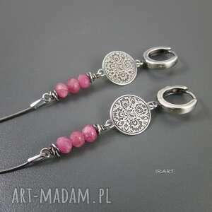 folk z różowym turmalinem, srebro, turmalin, kolczyki biżuteria