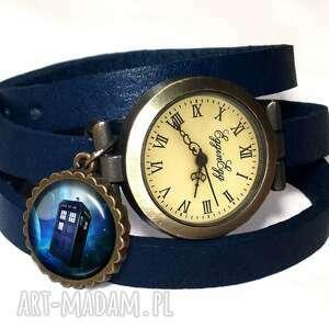 zegarki tardis - zegarek bransoletka na skórzanym pasku, tardis, doctor, who