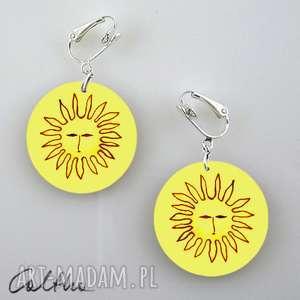 słońca - klipsy, kolczyki, wiszące, słońce, słoneczka, słońca