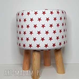 Pufa Małe Czerwone Gwiazdki - 36 cm , puf, taboret, stołek, vintage, siedzisko