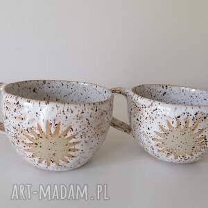 dwa kubki każdego dnia słońce, ceramika rękodzieło, kubek z gliny