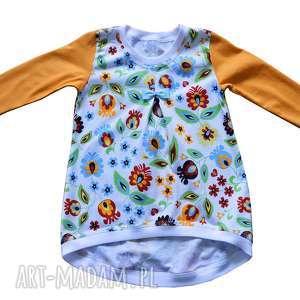 ŁOWICKA bawełniana tunika, sukienka, dla dziewczynki, FOLKOWA, biała rozmiary