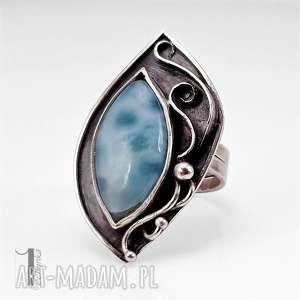 caelestis srebrny pierścień z larimarem