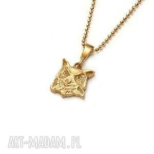 sowa puchacz wisiorek na łańcuszku ze złoconego srebra, złocony