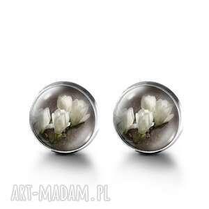 kolczyki sztyfty - magnolia, kolczyki, sztyfty, kwiaty, szkło