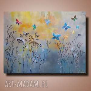 ŁĄKA Z MOTYLAMI-obraz akrylowy formatu 60/50 cm, motyle, trawy, akryl, łąka,