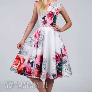 sukienka scarlett midi delicja, kwiaty, rozkloszowana, plecy, midi, koło, dekolt