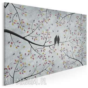 obraz na płótnie - ptaki gałęzie liście miłość 120x80