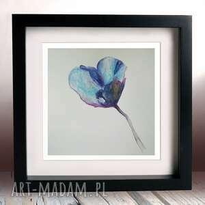 niebieski mak-akwarela formatu 25/25 cm, akwarela, mak