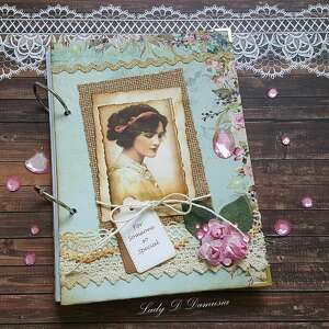 scrapbooking notesy retro sekretnik/ pamiętnik, lady, róże, koraliki, pamiętnik