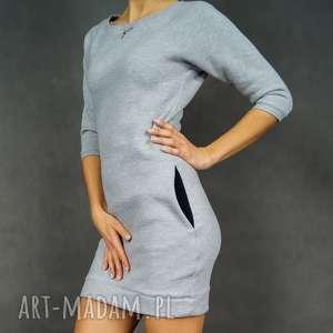 Sukienka dresowa DreSówka szara z rękawem 3/4, dresowa, tunika, sukienka, kieszenie
