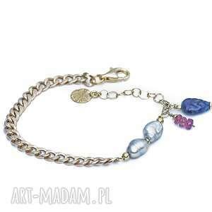 bransoletka z szarymi perłami, szare perły, kamieniami, złota