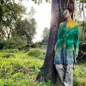 szaliki szal wełniany green yellow, szal, dzianinowy, ciepły, wełniany, ręcznie