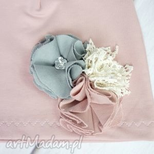 bukiet-pasji cienki komplet dla dziewczynki czapka komin - prezent, chusta