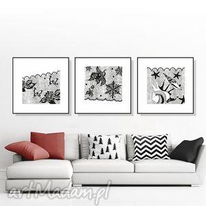 tryptyk z koronki... 30x30 cm., grafika, tryptyk, obraz, plakat, czarnobiały, kwadrat