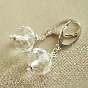 Kolczyki ze srebra i kryształu górskiego, delikatne, kobiece, przeźroczyste