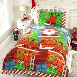 handmade na święta upominki pościel świąteczna - mikołaj w kominie