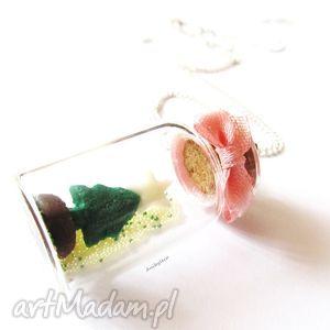 pomysł na święta prezent NASZYJNIK Świąteczny miniaturowy świat, naszyjnik, modelina