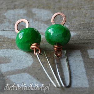 green green, kolczyki, srebro, agat, oponki