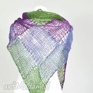 chusta - odcienie fioletów i zieleni, chusta, kwadrat, fiolet, ażur, ciepła, twarzowa