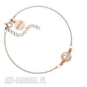 bransoletka z różowego złota ozdobną zawieszką, łańcuszek, rosegold, kulka