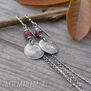 rubin - długie kolczyki z pastylką, rubin, rubiny, srebro, surowe