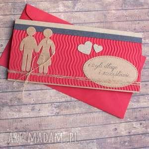 kartki kartka - kopertówka ludziki dark red, ślub