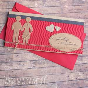 kartka - kopertówka :: ludziki dark red, ślub