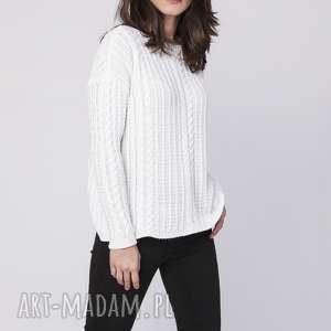 prosty sweter, swe138 biały mkm, dekolt, łódka, warkocz, dzianinowy, praca, jesień