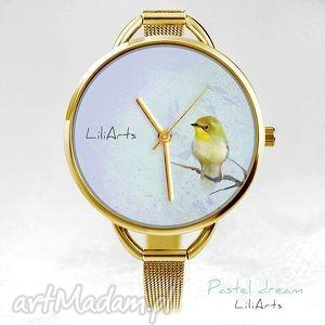 handmade zegarki zegarek, bransoletka - żółty ptaszek kolor złoty
