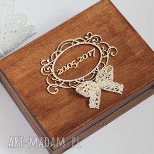 Pudełko z ramką, pudełko, eko, obrączki, drewno, rustykalne, koronka