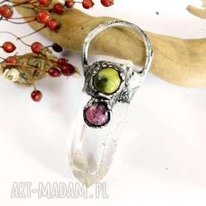 kryształ górski, rodonit oraz jadeit - wisior, rodonit