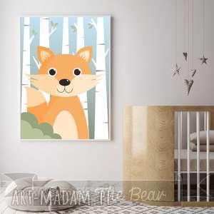 plakat dla dzieci lis a4, lis, las, zwierzęta, plakat, obrazek, pokoik