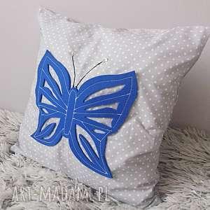 Poduszka blue butterfly&grey - ,poduszka,motyl,motylek,groszki,sypialnia,