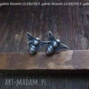 WSPOMNIENIE LATA kolczyki ze srebra, srebro, oksydowane, pszczoła, pszczółka,