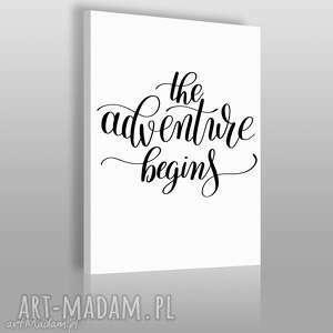 napis na płótnie - the adventure begins 50x70 cm 56843, napis, dekoracja