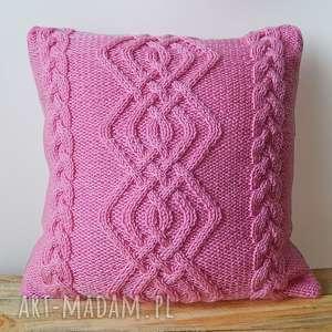 poduszki różowa poduszka, wlóczkowa, warkocze, miękka, nieuczulająca