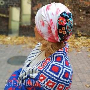 czapka dzianinowa damska dresowa farbowana folk boho, czapka, etno, kolorowa