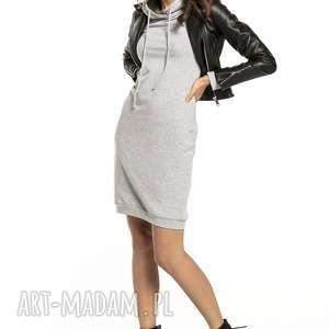 sportowa sukienka z kapturem, t292, jasnoszary ciemnoszary, sportowa, dopasowana