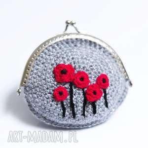 portfele portmonetka, portfel, drobiazgi, kwiaty, maki, szydełko
