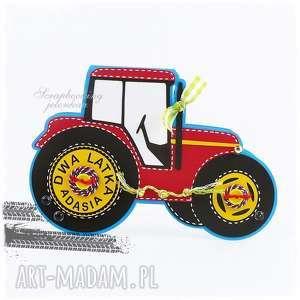Traktor - kartka urodzinowa, traktor, ciągnik, urodziny, czerwony, koła, wieś
