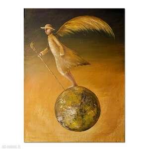 trzepot wolnych piór, oryginalny obraz ręcznie malowany, surrealizm