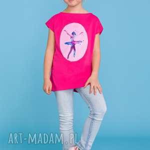Letnia bluzeczka dla dziewczynki z aplikacją baleriny, różowa, letnia,