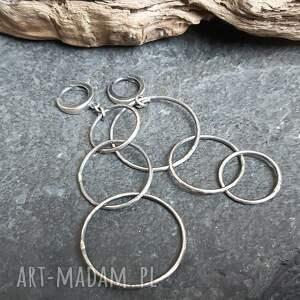 asymetryczne kolczyki ze srebra - 3 koła, asymetryczne