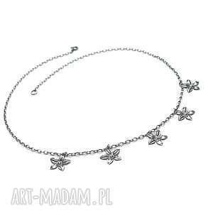 naszyjniki choker /silver flower/ - naszyjnik, srebro, oksydowane, kwiaty