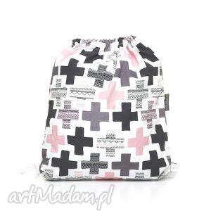 plecak worek przedszkolaka pastelowe plusy, mufka, ocieplacz dla dziecka