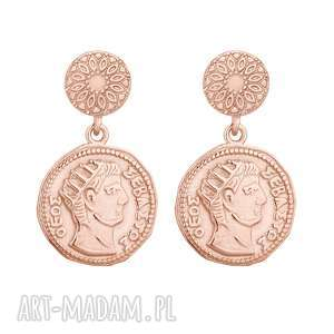 kolczyki z różowego złota z monetami, złoto, sztyfty