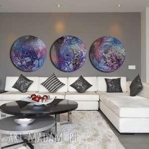 Tryptyk księzycowy 4, księżyc, planeta, kosmos, ebru, abstrakcja,