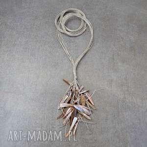 Różany - długi naszyjnik lniany naszyjniki galeria nuit długi