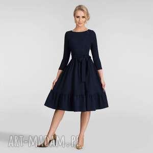 sukienki sukienka olga 3/4 midi granat, sukienka, midi, rozkloszowana, falbana